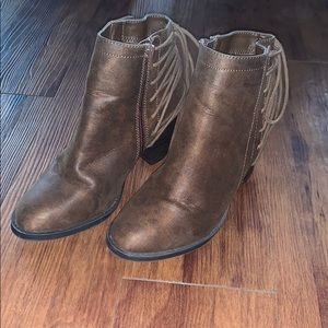 Brown lace up ankle booties